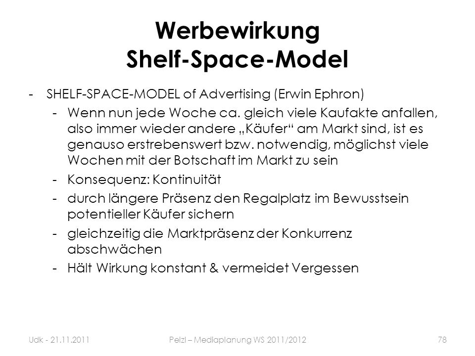 Werbewirkung Shelf-Space-Model