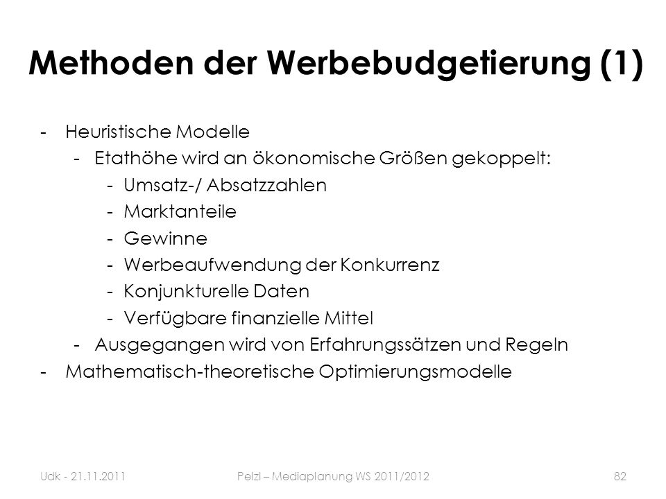 Methoden der Werbebudgetierung (1)