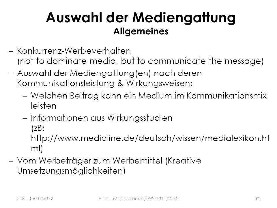Auswahl der Mediengattung Allgemeines