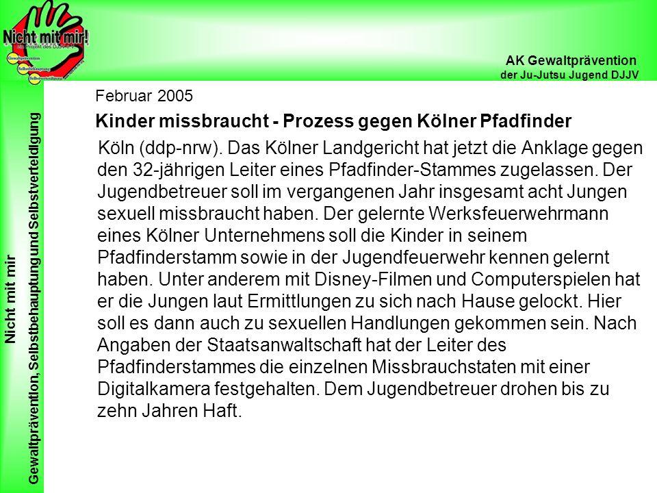Februar 2005 Kinder missbraucht - Prozess gegen Kölner Pfadfinder.