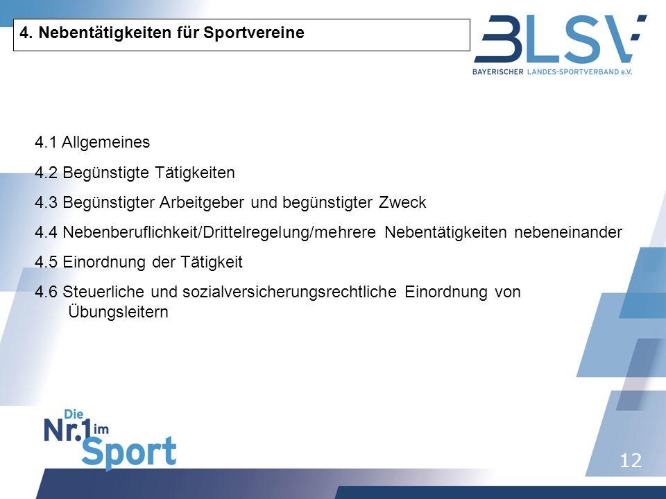 4. Nebentätigkeiten für Sportvereine