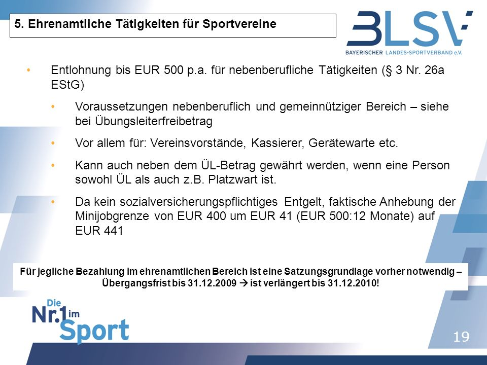 5. Ehrenamtliche Tätigkeiten für Sportvereine