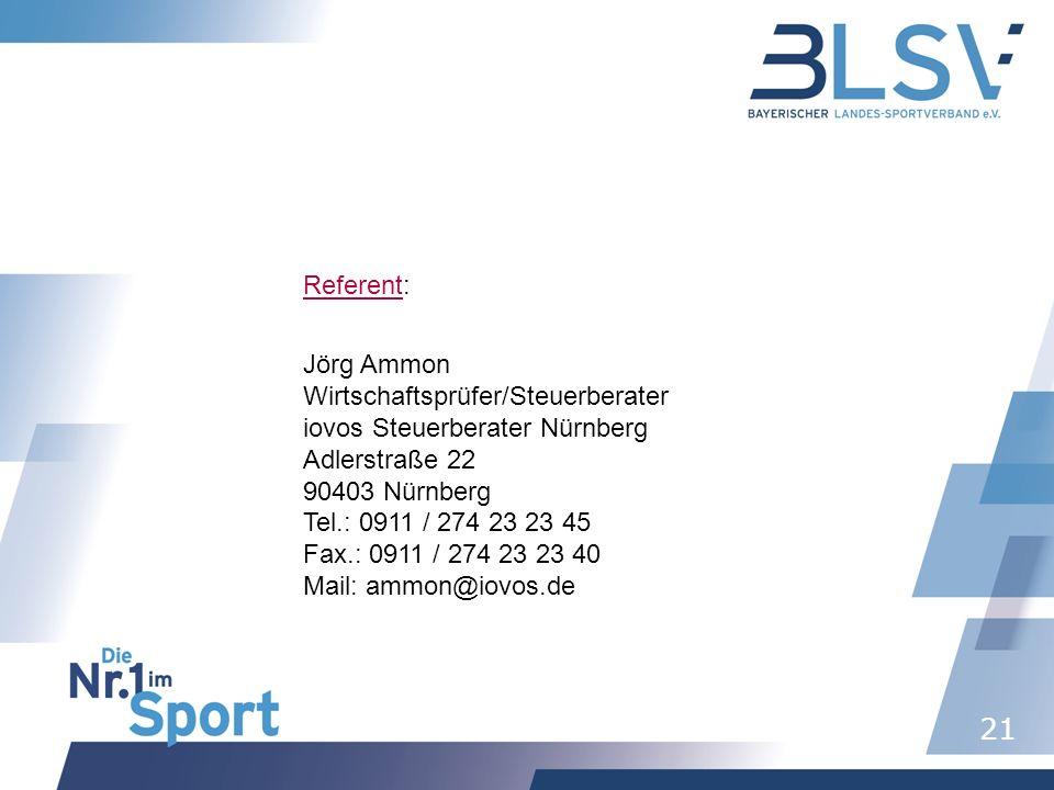 Referent: Jörg Ammon. Wirtschaftsprüfer/Steuerberater. iovos Steuerberater Nürnberg. Adlerstraße 22.