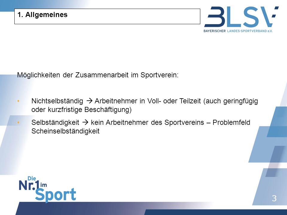 1. Allgemeines Möglichkeiten der Zusammenarbeit im Sportverein: