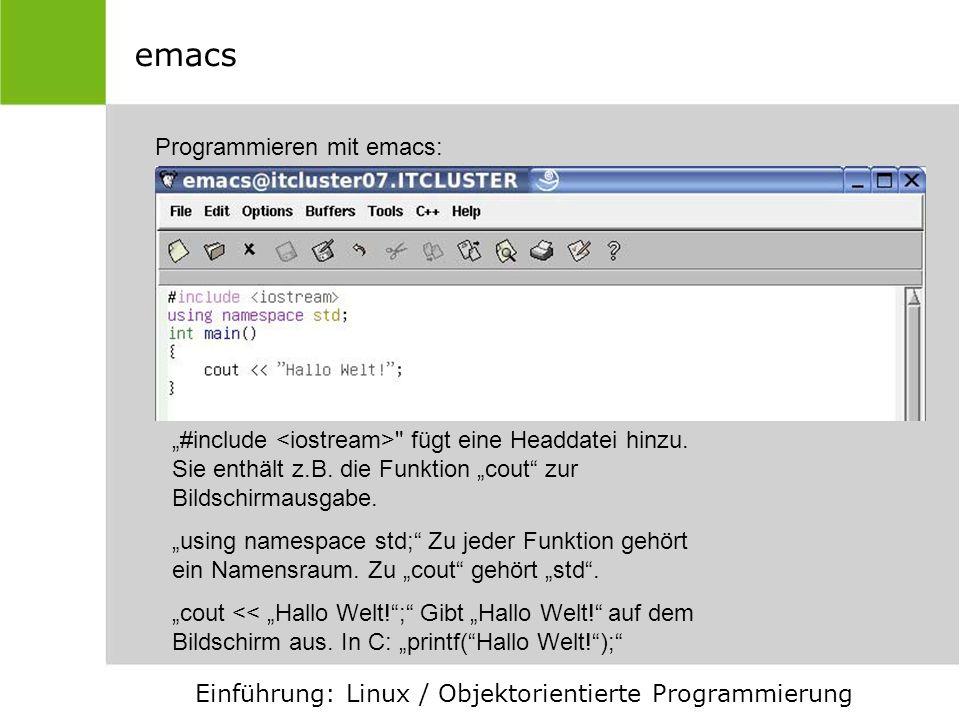 emacs Programmieren mit emacs:
