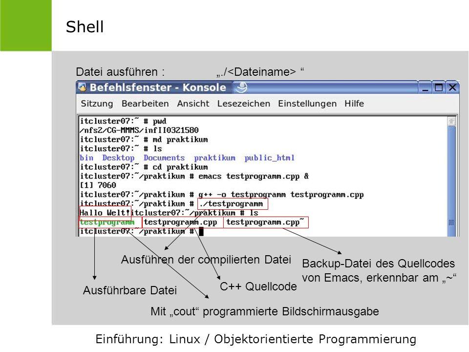 """Shell Datei ausführen : """"./<Dateiname>"""