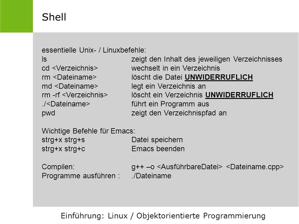 Shell essentielle Unix- / Linuxbefehle: