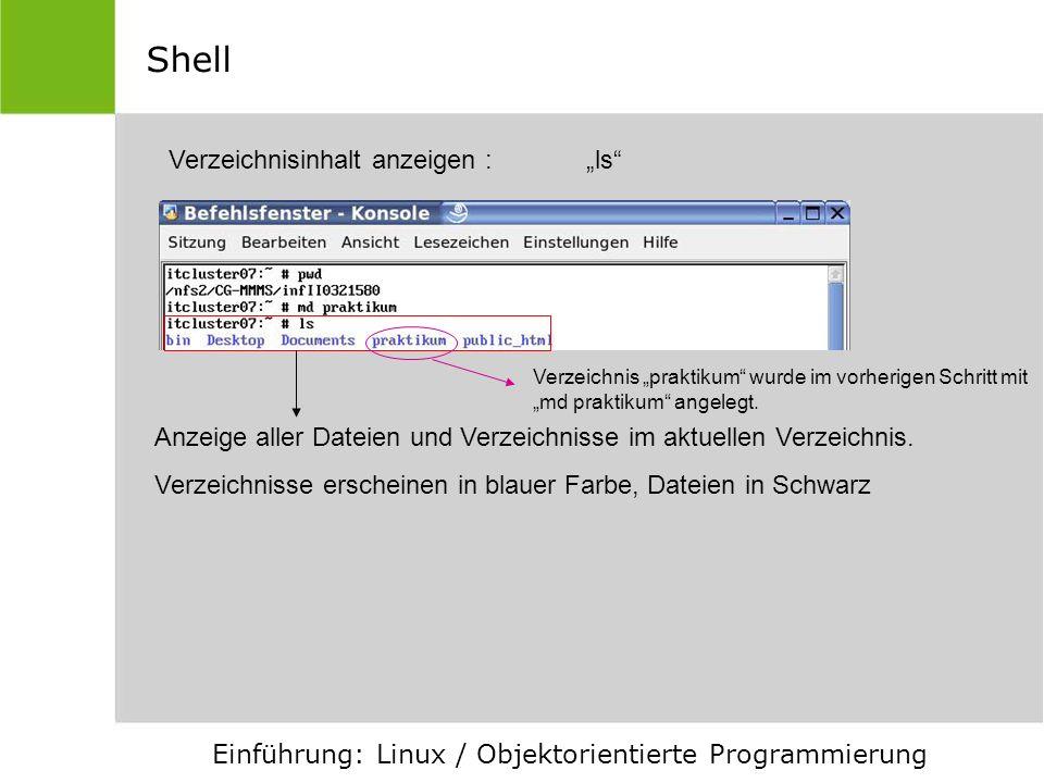 """Shell Verzeichnisinhalt anzeigen : """"ls"""