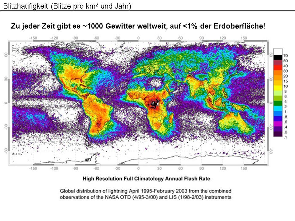 Blitzhäufigkeit (Blitze pro km2 und Jahr)
