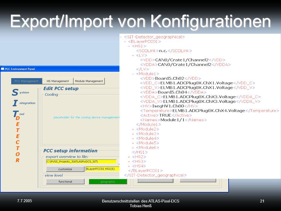 Export/Import von Konfigurationen