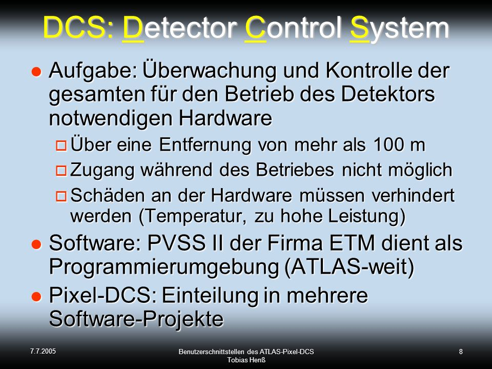 DCS: Detector Control System