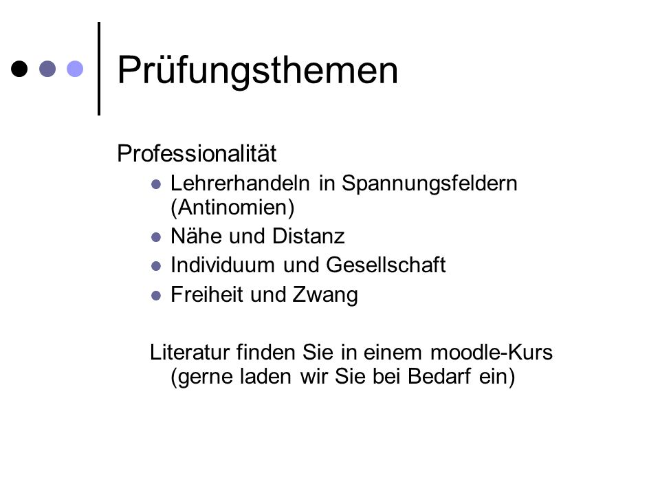 Prüfungsthemen Professionalität