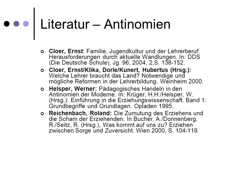 Literatur – Antinomien