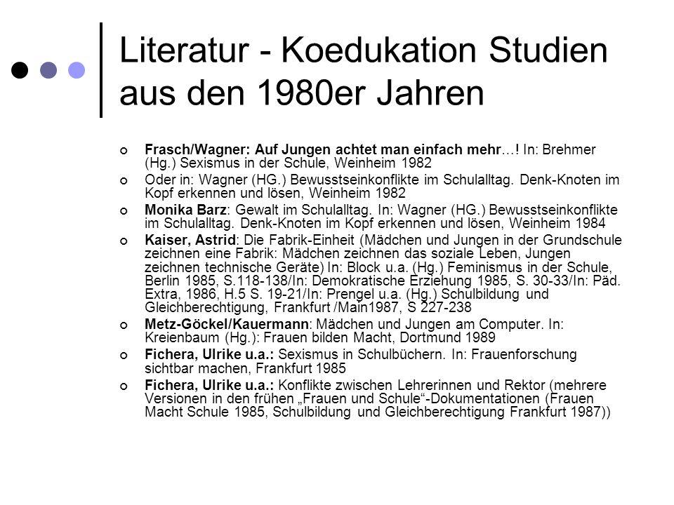Literatur - Koedukation Studien aus den 1980er Jahren