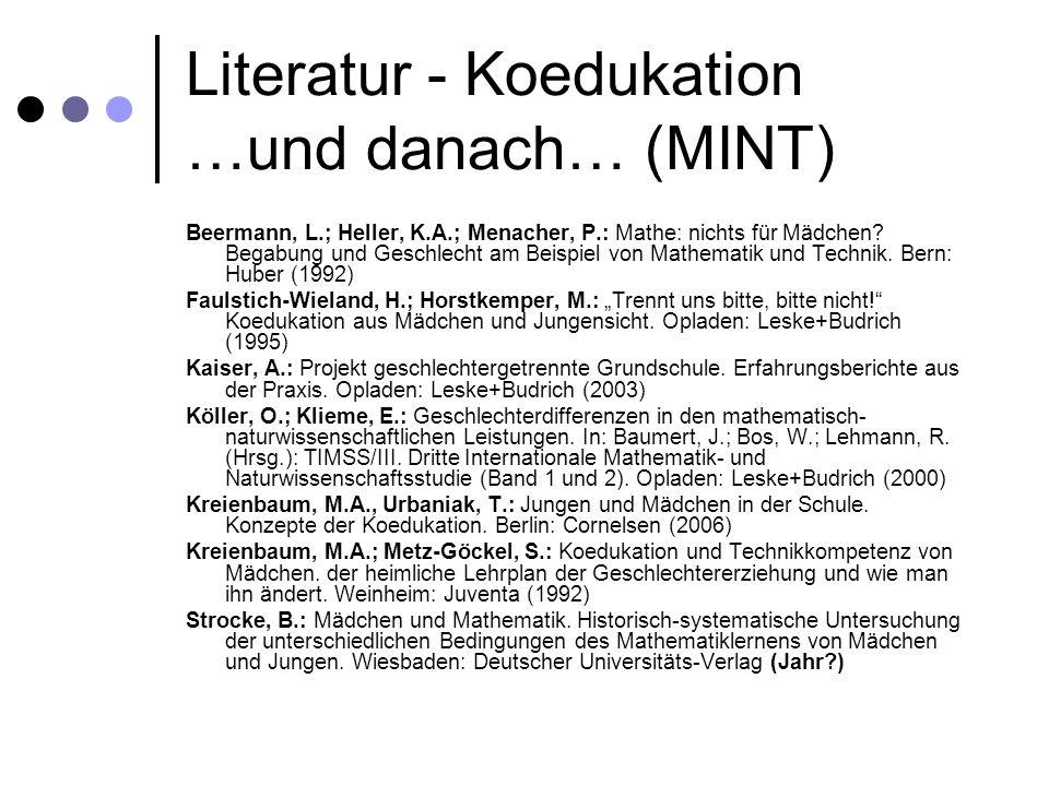 Literatur - Koedukation …und danach… (MINT)
