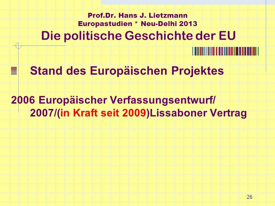Stand des Europäischen Projektes