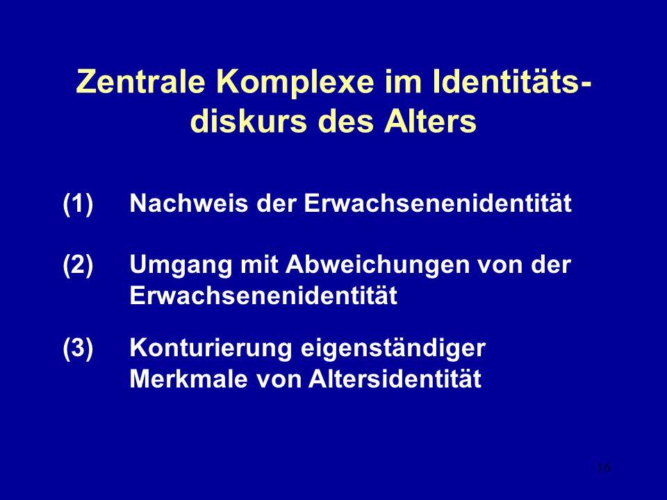 Zentrale Komplexe im Identitäts-diskurs des Alters