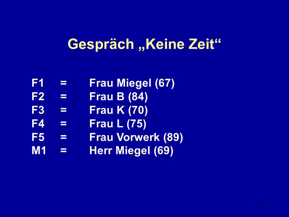 """Gespräch """"Keine Zeit F1 = Frau Miegel (67) F2 = Frau B (84)"""