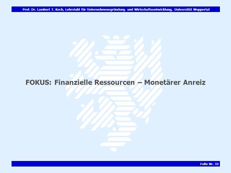 FOKUS: Finanzielle Ressourcen – Monetärer Anreiz