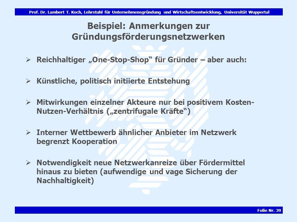 Beispiel: Anmerkungen zur Gründungsförderungsnetzwerken