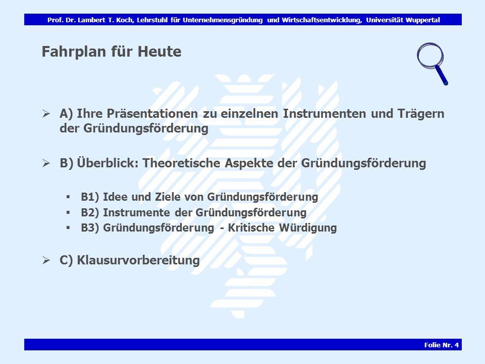 Fahrplan für Heute A) Ihre Präsentationen zu einzelnen Instrumenten und Trägern der Gründungsförderung.