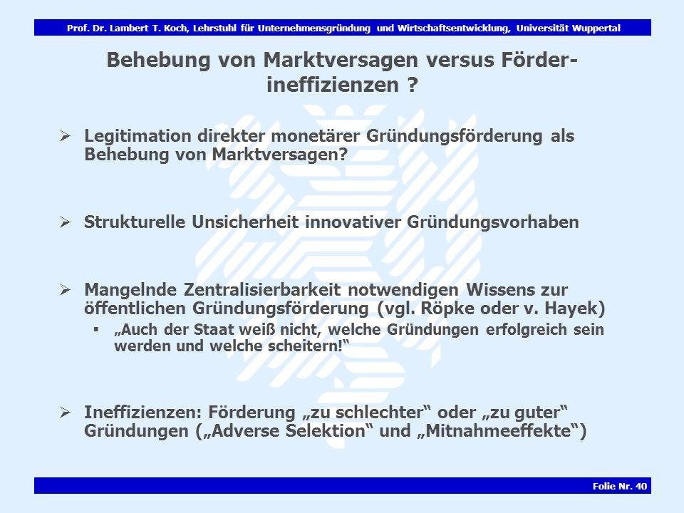 Behebung von Marktversagen versus Förder-ineffizienzen