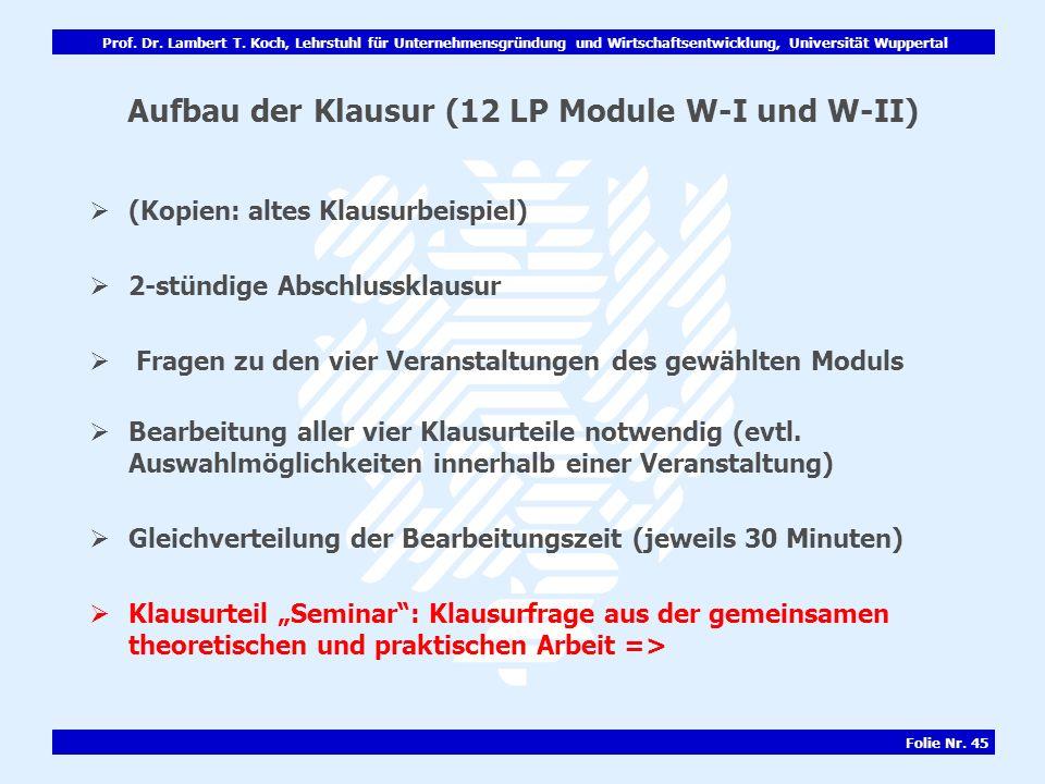 Aufbau der Klausur (12 LP Module W-I und W-II)