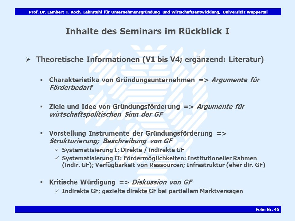 Inhalte des Seminars im Rückblick I