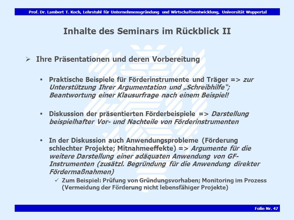 Inhalte des Seminars im Rückblick II