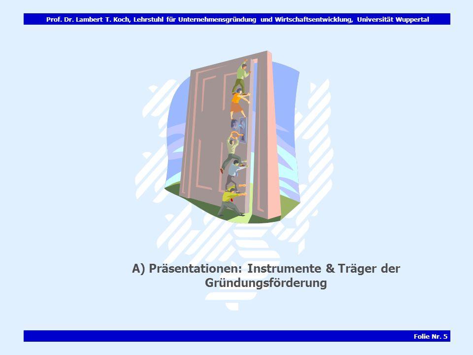 A) Präsentationen: Instrumente & Träger der Gründungsförderung