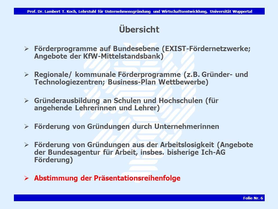 Übersicht Förderprogramme auf Bundesebene (EXIST-Fördernetzwerke; Angebote der KfW-Mittelstandsbank)