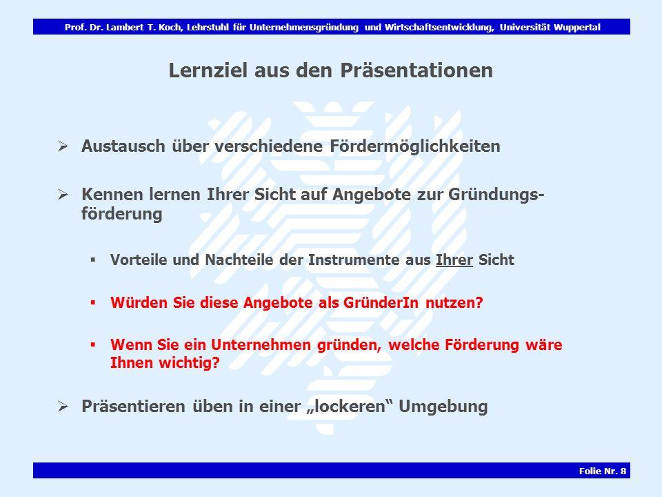 Lernziel aus den Präsentationen