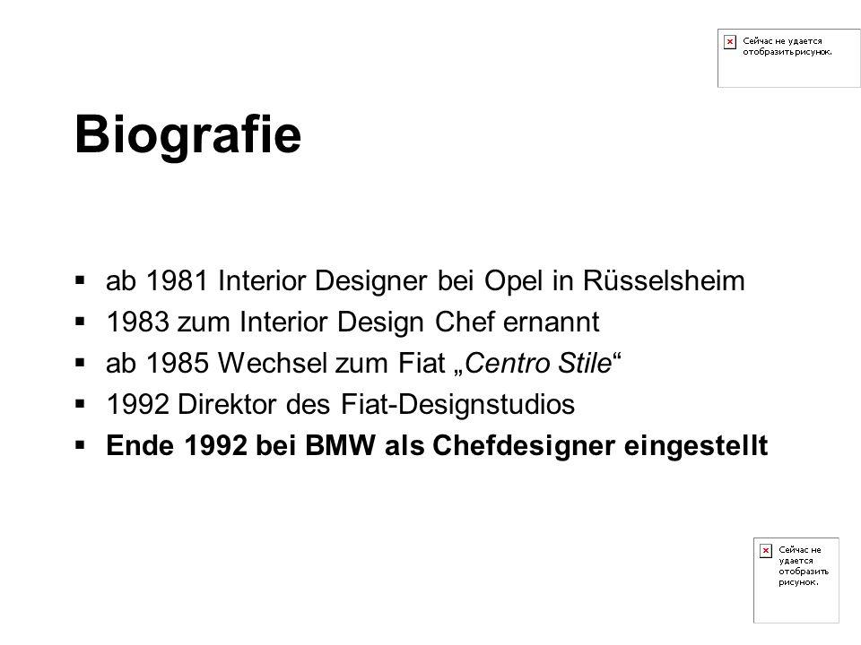 Biografie ab 1981 Interior Designer bei Opel in Rüsselsheim