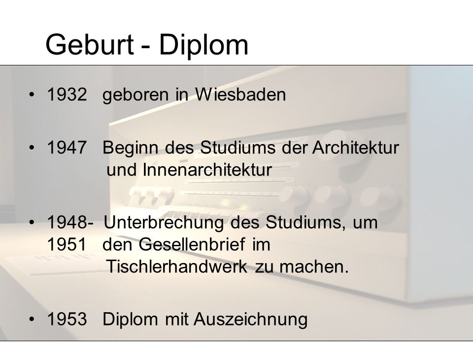 Geburt - Diplom 1932 geboren in Wiesbaden