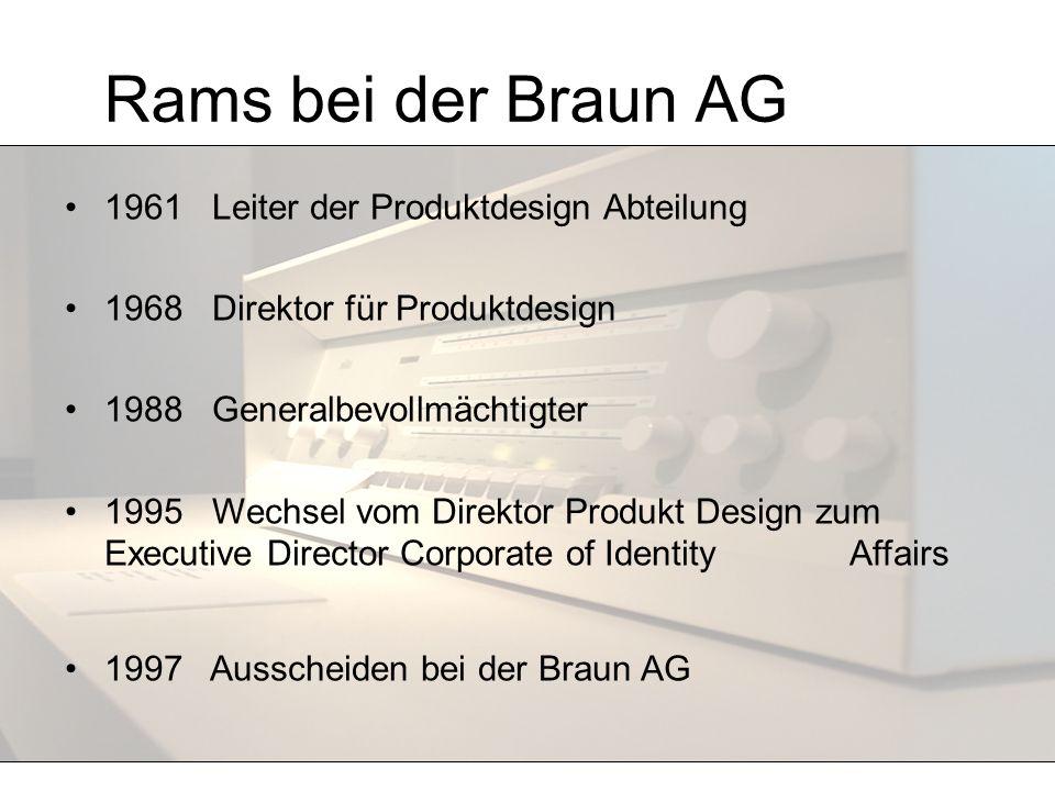 Rams bei der Braun AG 1961 Leiter der Produktdesign Abteilung