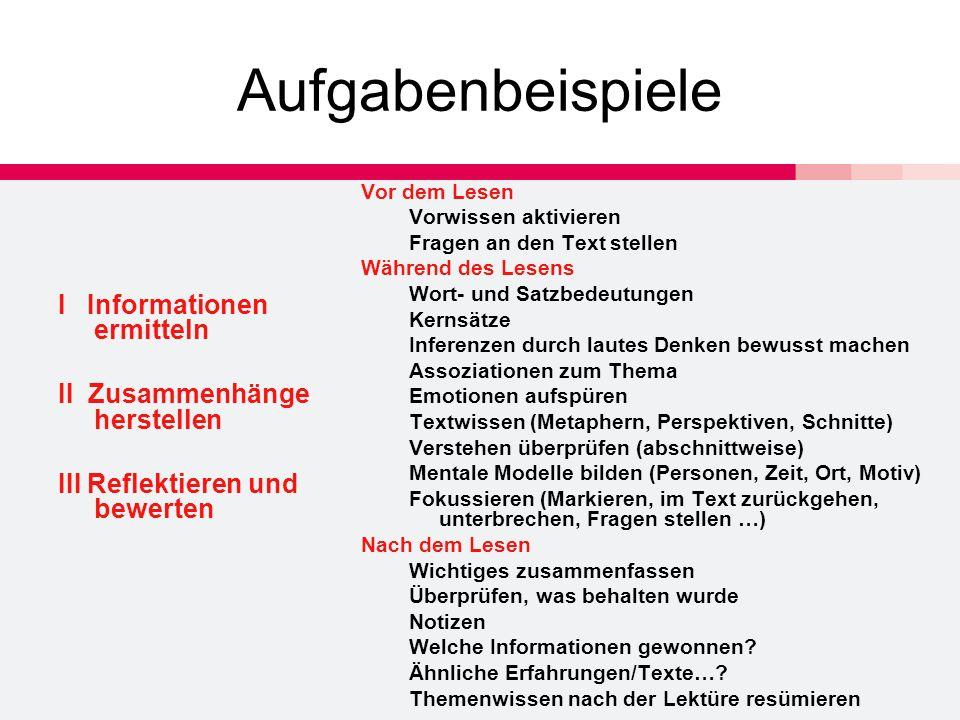 Aufgabenbeispiele I Informationen ermitteln