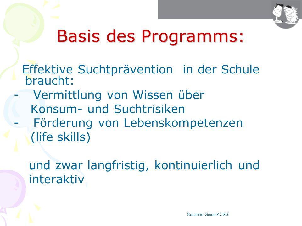 Basis des Programms: Effektive Suchtprävention in der Schule braucht: