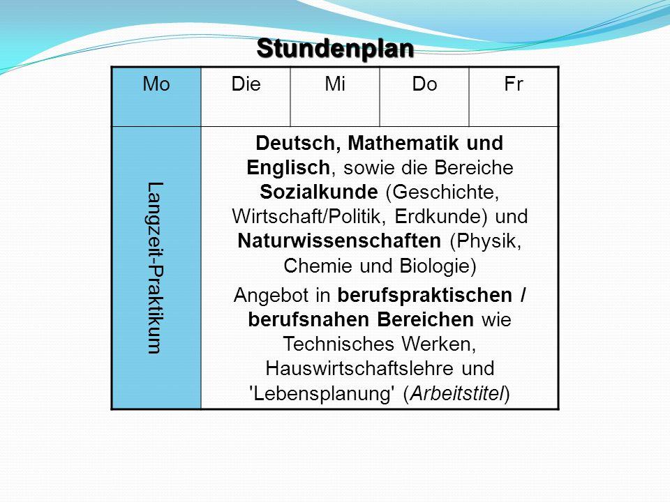 Stundenplan Mo Die Mi Do Fr Langzeit-Praktikum