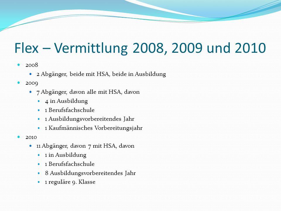 Flex – Vermittlung 2008, 2009 und 2010 2008. 2 Abgänger, beide mit HSA, beide in Ausbildung. 2009.