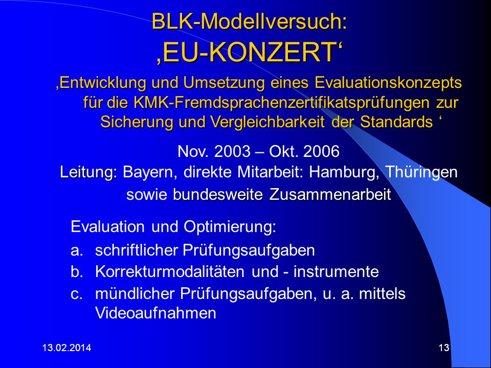 BLK-Modellversuch: 'EU-KONZERT'