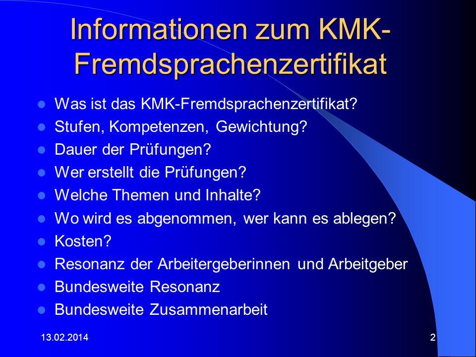 Informationen zum KMK-Fremdsprachenzertifikat