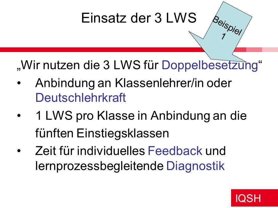 """Einsatz der 3 LWS """"Wir nutzen die 3 LWS für Doppelbesetzung"""