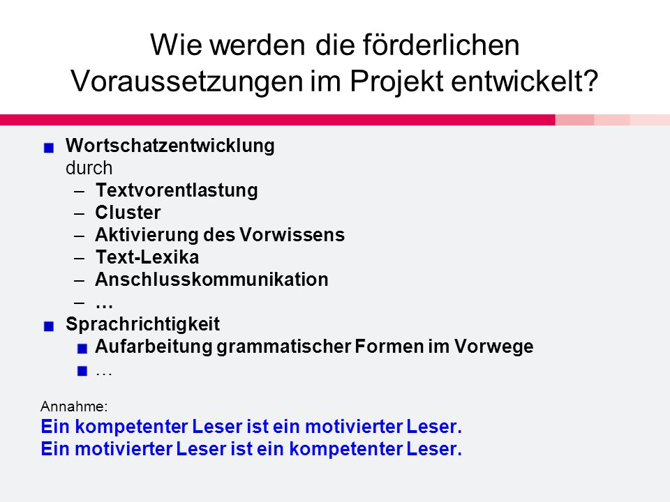 Wie werden die förderlichen Voraussetzungen im Projekt entwickelt