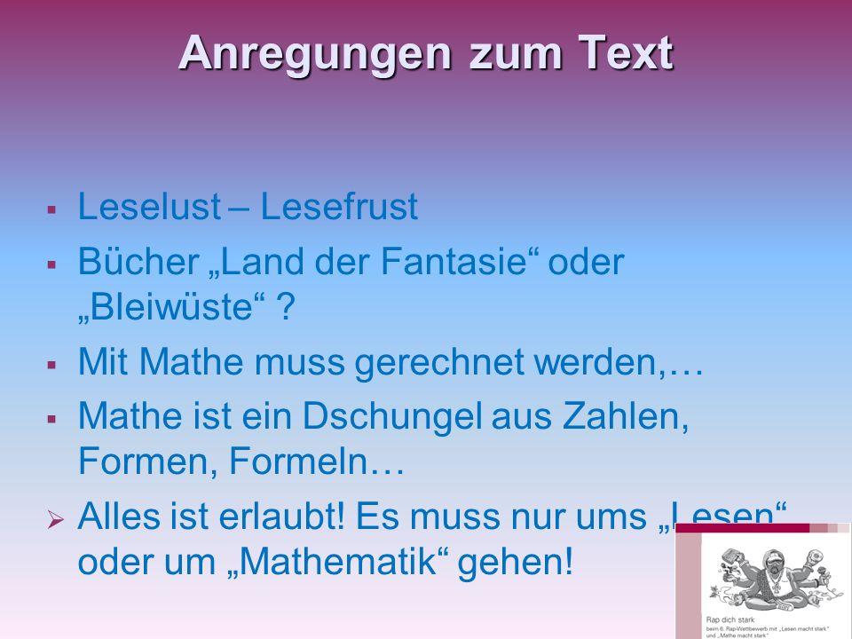 Anregungen zum Text Leselust – Lesefrust