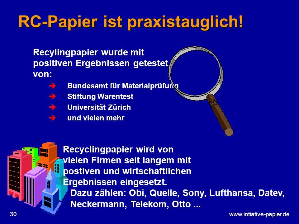 RC-Papier ist praxistauglich!