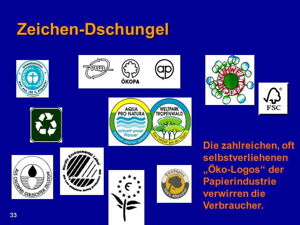 """Zeichen-Dschungel Die zahlreichen, oft selbstverliehenen """"Öko-Logos der Papierindustrie verwirren die Verbraucher."""