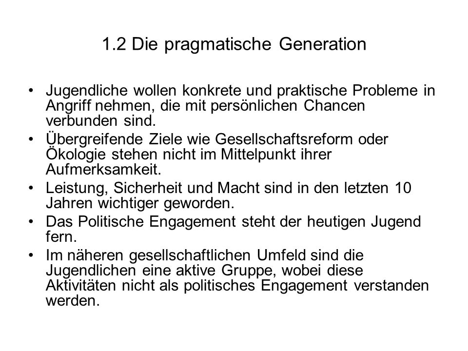 1.2 Die pragmatische Generation