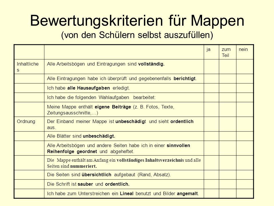 Bewertungskriterien für Mappen (von den Schülern selbst auszufüllen)