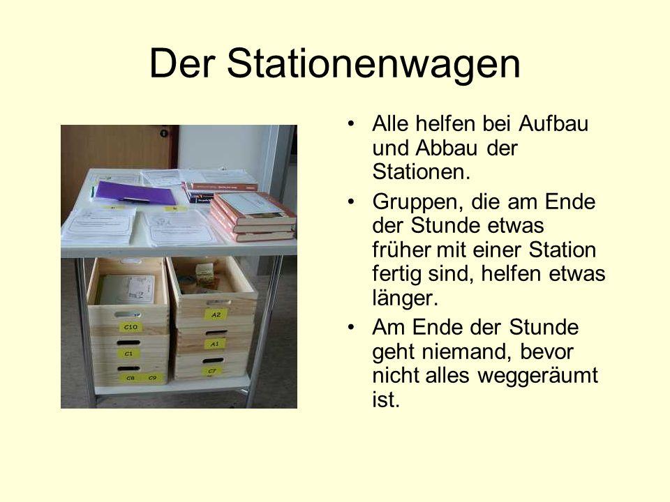 Der Stationenwagen Alle helfen bei Aufbau und Abbau der Stationen.