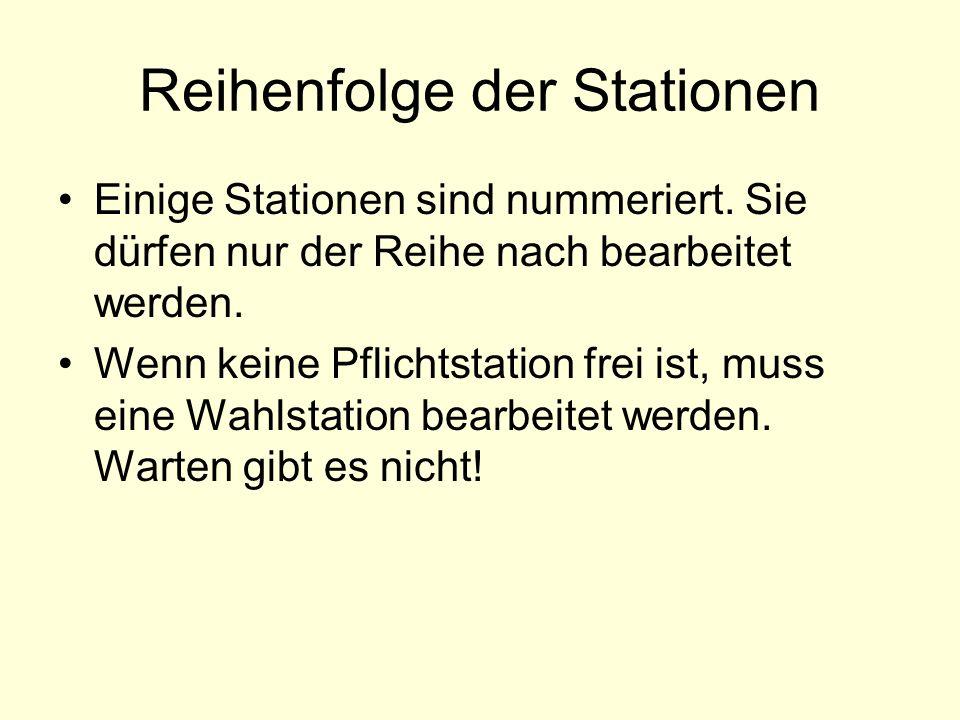 Reihenfolge der Stationen